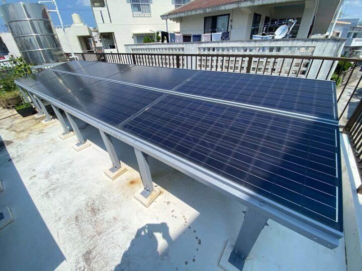沖縄県与那原町 A様邸 太陽光フレーム防錆塗装工事